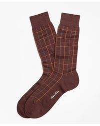 Brooks Brothers - Brown Windowpane Crew Socks for Men - Lyst