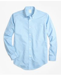 Brooks Brothers Blue Non-iron Milano Fit Micro Check Sport Shirt for men