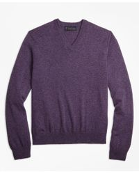 Brooks Brothers - Purple Two-ply Cashmere V-neck Sweater for Men - Lyst