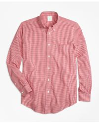 Brooks Brothers Red Non-iron Milano Fit Micro Check Sport Shirt for men