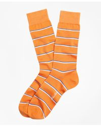 Brooks Brothers - Orange Two-color Stripe Crew Socks for Men - Lyst