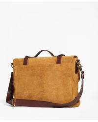 Brooks Brothers - Brown Suede Convertible Brief/messenger Bag for Men - Lyst