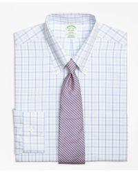 Brooks Brothers - Blue Milano Slim-fit Dress Shirt, Non-iron Alternating Twin Tattersall for Men - Lyst