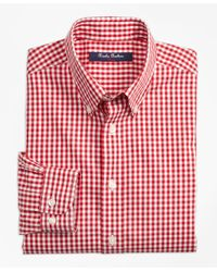 Brooks Brothers Red Non-iron Gingham Sport Shirt for men