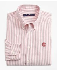 Brooks Brothers Red Non-iron Club Stripe Sport Shirt for men