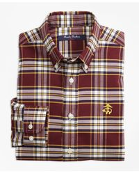Brooks Brothers Red Non-iron Supima® Cotton Large Plaid Sport Shirt for men