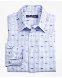 Brooks Brothers Blue Cotton Gingham Sport Shirt With Fishbone Embroidery for men