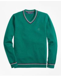 Brooks Brothers Green Cotton Tipped V-neck Sweater for men