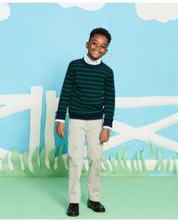 Brooks Brothers Green Cotton Waffle Stitch Stripe Crewneck Sweater for men