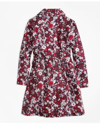 Brooks Brothers Multicolor Cotton Sateen Floral Trench