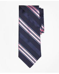Brooks Brothers | Blue Satin Ribbed Stripe Tie for Men | Lyst