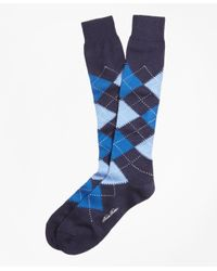 Brooks Brothers | Blue Cotton Argyle Over-the-calf Socks for Men | Lyst