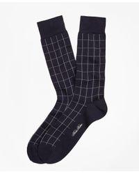 Brooks Brothers | Blue Windowpane Crew Socks for Men | Lyst