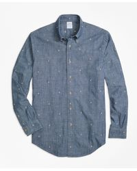 Brooks Brothers | Blue Regent Fit Anchor Embroidered Indigo Chambray Sport Shirt for Men | Lyst
