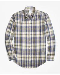 Brooks Brothers | Green Regent Fit Large Plaid Irish Linen Sport Shirt for Men | Lyst