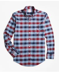Brooks Brothers | Blue Non-iron Madison Fit Heathered Bold Gingham Sport Shirt for Men | Lyst