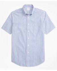 Brooks Brothers | Blue Regent Fit Alternating Stripe Seersucker Short-sleeve Sport Shirt for Men | Lyst