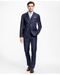 Brooks Brothers - Blue Milano Fit Three-piece Stripe 1818 Suit for Men - Lyst