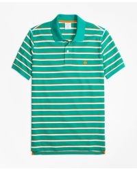 Brooks Brothers | Green Slim Fit Supima® Cotton Pique Classic Stripe Polo Shirt for Men | Lyst