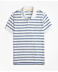Brooks Brothers | White Slim Fit Supima® Cotton Pique Classic Stripe Polo Shirt for Men | Lyst