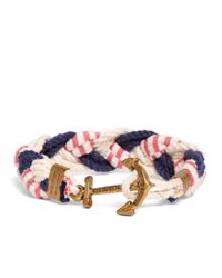Brooks Brothers   Blue Kiel James Patrick Navy, White And Red Braided Bracelet for Men   Lyst