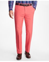Brooks Brothers   Red Clark Fit Supima® Cotton Poplin Pants for Men   Lyst