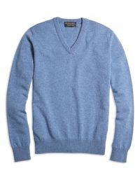 Brooks Brothers | Blue Cashmere V-neck Sweater | Lyst