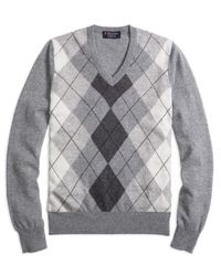 Brooks Brothers | Gray Cashmere Argyle V-neck Sweater for Men | Lyst