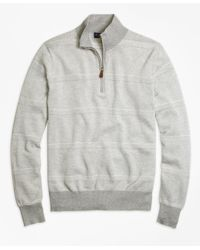 Brooks Brothers | Gray Supima® Cotton Pique-stitch Stripe Half-zip Sweater for Men | Lyst