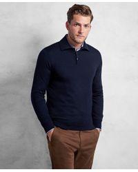 Brooks Brothers | Blue Golden Fleece® 3-d Knit Fine-gauge Merino Wool Polo Sweater for Men | Lyst