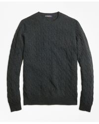 Brooks Brothers   Green Cashmere Cable Crewneck Sweater for Men   Lyst