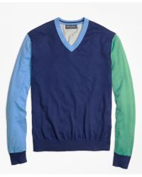 Brooks Brothers   Blue Cotton-cashmere Colorblock V-neck Sweater for Men   Lyst