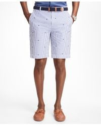 Brooks Brothers | Blue Palm Tree Embroidered Seersucker Bermuda Shorts for Men | Lyst