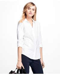Brooks Brothers | White Fitted Cotton Jacquard Shirt | Lyst