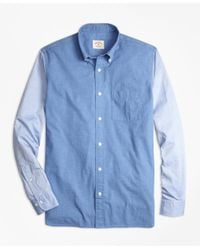 Brooks Brothers | Blue Chambray Color-block Sport Shirt for Men | Lyst
