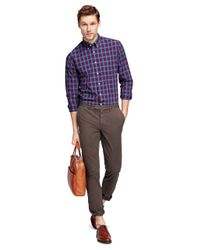 Brooks Brothers - Brown Slim Fit Garment-dyed Chinos for Men - Lyst