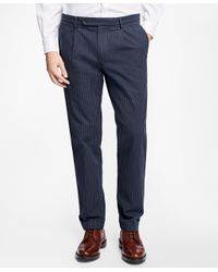 Brooks Brothers | Blue Slim-fit Canvas Ticking-stripe Pleat-front Chinos for Men | Lyst