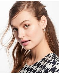 Brooks Brothers - Metallic Pearl And Crystal Front-back Earrings - Lyst