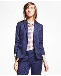 Brooks Brothers | Blue Wool Blend Pinstripe Jacket | Lyst