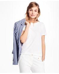 Brooks Brothers   White Eyelet-back Jersey Tee Shirt   Lyst