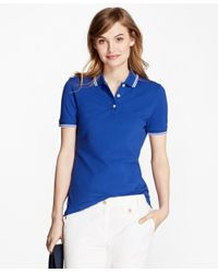 Brooks Brothers | Blue Stripe-tip Pique Polo Shirt | Lyst