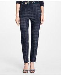 Brooks Brothers | Blue Windowpane Stretch Wool Hopsack Pants | Lyst