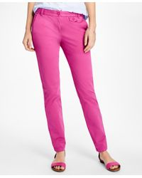 Brooks Brothers | Pink Stretch-cotton Twill Pants | Lyst