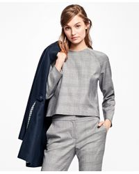 Brooks Brothers   Gray Wool-blend Glen Plaid Blouse   Lyst