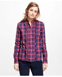 Brooks Brothers - Blue Tartan Ruffle Shirt - Lyst