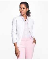 Brooks Brothers | White Supima® Cotton Pointelle Cardigan | Lyst