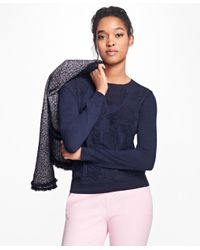 Brooks Brothers | Blue Floral Jacquard Crewneck Sweater | Lyst