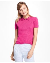 Brooks Brothers | Multicolor Short-sleeve Cotton Pointelle Polo Sweater | Lyst
