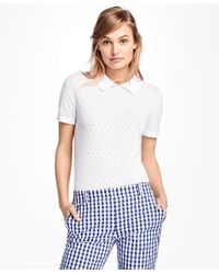 Brooks Brothers | White Short-sleeve Cotton Pointelle Polo Sweater | Lyst