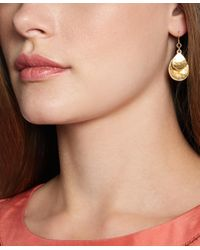 Brooks Brothers - Metallic Gold Hammered Drop Earrings - Lyst